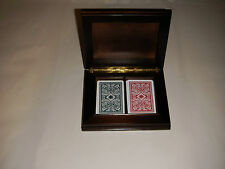 """PLAYING CARDS W DOUBLE MAHOGANY CHEST 7.50"""" X 6"""" W RED & WHITE TRADE MARK DECKS"""