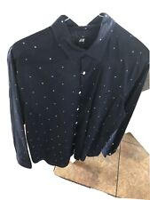 H&M Button Up Shirt Men's Size Large Long Sleeve Blue White Polka Dots Slim Fit