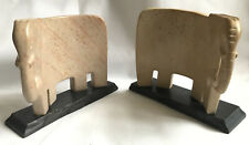 Elephant Stone Bookends On Wooden Based
