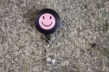Smiley Face Retractable Reel ID Badge Holder/Key Card Chain /Security Black/Pink