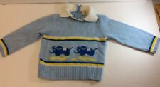 VINTAGE BABY CLOTHES-TODDLE TIME * J C PENNYS-BLUE SWEATER-SIZE 2