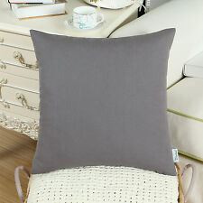 CaliTime Cushion Covers Throw Pillow Shells Cotton Canvas Solid Colors 45 X 45cm Gray