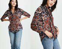 $395 L'AGENCE Women's Silk Chiffon Gisele Neck Tie Blouse Floral Print Sz Small