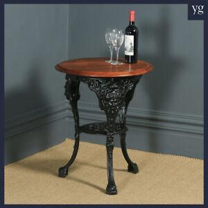 Antique Victorian Cast Iron & Mahogany Circular Round Britannia Kitchen Table