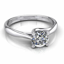 Solitaire Diamond Engagement Ring One Carat Round Shape F/VS2 14k White Gold
