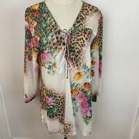 Roberto Cavalli X Target Women's Sheer Floral Summer Kaftan Top Size 14 ~A15