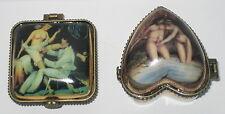 2 Erotik Dosen, Pillendosen, Porzellan Sammler Dosen, Nostalgie Stil, rar, 4-7cm