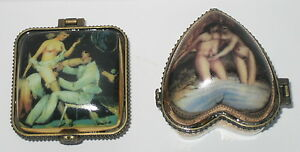 2 Erotik Dose Porzellandose Sammlerdose Pillendose Intimschmuck Antik Stil 4-7cm