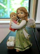 Goebel  Angel Standing  with Doll and Cradle 41-248~Rare Green Dress !!