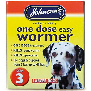 Johnsons Wormer Dog Worm Worming Tablets Size 3 Large Dogs Tapeworm 6kg - 40kg