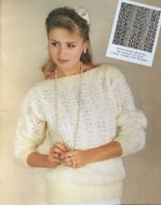 """Knitting Pattern For A Ladies Lacy Jumper Boat Neckline DK size 32/42"""""""