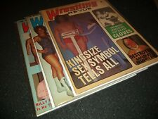 VINTAGE 1973 Wrestling Revue Magazines lot of 3 /Andre The Giant/ COVERS W/Bags