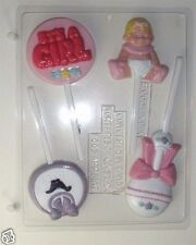 BABY GIRL ASSORTMENT LOLLIPOP CLEAR PLASTIC CHOCOLATE CANDY MOLD B065