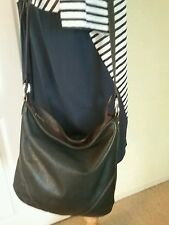 STONE MOUNTAIN BLACK & BROWN SOFT LEATHER SHOULDER BAG