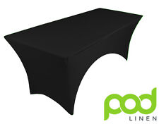 BLACK spandex stretch cover tablecloth for 6ft table 1 SIDE ARCHED DJ 180X75X75