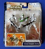 STAR WARS Army Of The Republic CLONE TROOPER ARMY 3 PACK ACTION FIGURE Green NEW