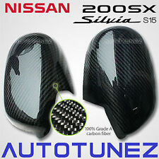 Carbon Fiber Car Side Mirror Cover For Nissan 200SX Silvia S15 Autotunez Black
