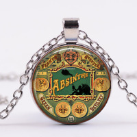 NEW! Green Devil Absinthe Cabochon Tibetan Silver Glass Chain Pendant Necklace