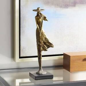 "Standing Girl 14 1/4"" High Copper Statue"