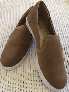 Ladies LANDS END CANVAS Tan Leather Suede Shoes. Size 40. New $119