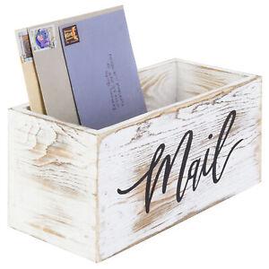 MyGift Whitewashed Wood Tabletop Decorative Mail Holder Box