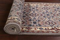 """All-Over Geometric Floral 10 ft Gray Blue Oriental Wool Runner Rug 9' 8"""" x 2' 7"""""""