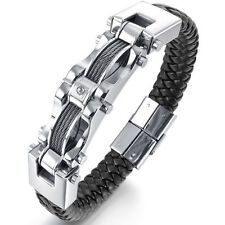 MENDINO Men's Stainless Steel Leather Bracelet Braided Cable Wire Bangle Silver