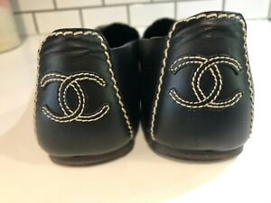 CHANEL Logo Woman's Driving Calf-Skin Moccasins-Made in Italy-Size 40