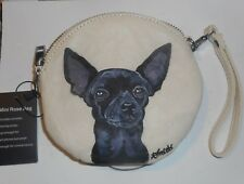 Black Chihuahua Hand Painted Vegan Leather Wristlet Mini Purse Rose Bag