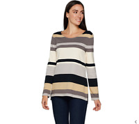 Isaac Mizrahi Live! Striped Color Block Long Sleeve Tunic Neutral Color Size S