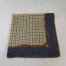 Aquascutum Vintage Scarf 30.5 x 30.5 Blue Brown Check Belt Stylish VGC