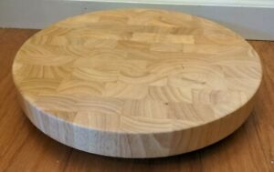 """Beautiful Footed Round Wood Cutting Board Sections Light Wood 13 1/2"""" Across"""