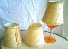 Vintage Chandelier Mini Clip On Lamp Shades Handmade Champagne Silk w/Gold Trim