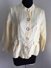 Chico's yellow linen cotton Big button front Light blazer/jacket Size 0 is 4