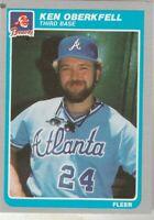 FREE SHIPPING-MINT-1985 Fleer #336 Ken Oberkfell Atlanta Braves PLUS BONUS CARDS