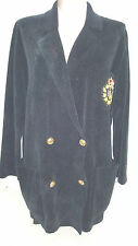 RALPH LAUREN Womens Heavy Corduroy Crest Blazer Jacket Coat Sweater Medium Black