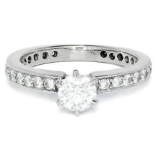 Round Diamond Solitaire Engagement Ring w/ Accents 14K White Gold .92ctw