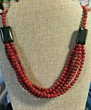 "Jay King Red Coral and Obsidian Bead 20"" Sterling Silver Necklace NWT"
