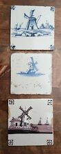 3 antique Dutch Delft Blue / Manganese Tiles with Windmill Scenes  NOT Perfect