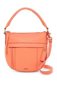 FOSSIL NWT $198 Molly Small Leather Hobo Bag Cross-body Purse Papaya