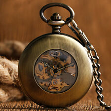 Vintage Copper Smooth Case Automatic Mechanical Men Pocket Watch Chain Gift