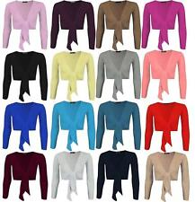 Womens Ladies Plain Tie Knot Front Open Cropped Long Sleeve Bolero Shrug Jacket