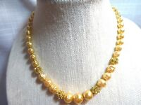 MIRIAM HASKELL  Creamy Glass Baroque Pearl Necklace w/ Rhinestone Rondelles