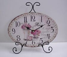 Tischuhr ROSE - mit Rosendesign - zum Aufstellen - 27 x 20 cm - NEU!!