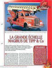 FICHE Truck Camion Grande Echelle Magirus Tipp & Co Germany Pompiers FIREFIGHTER