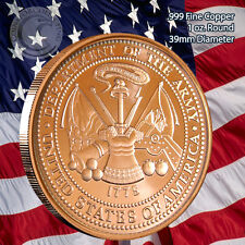 US Army Copper Round 1 oz .999 Copper Coin Limited & Rare (not minted anymore)