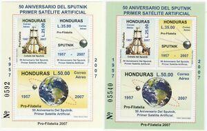 Honduras. 50 anniversary of Sputnik, first artificial satellite. Sc. C1262-C1263