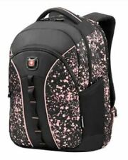"""NWT SwissGear / Wenger Sun Backpack With 16"""" Laptop Pocket, Black/Pink Paint Spl"""