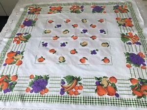 "1960s vintage cotton printed fruits tablecloth camper van retro  48"" x 45"""