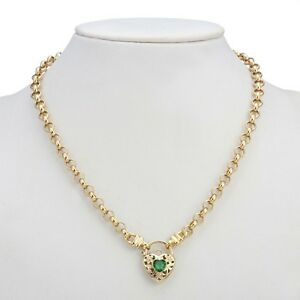 18K Yellow Gold GL Women's Solid Med Belcher Necklace & Emerald Filigree Heart